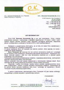 Referencje dla Biura Tłumaczeń AZ od O.K. - Owocowe Koncentraty