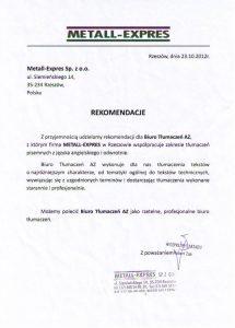 Referencje dla Biura Tłumaczeń AZ od Metall-Expres